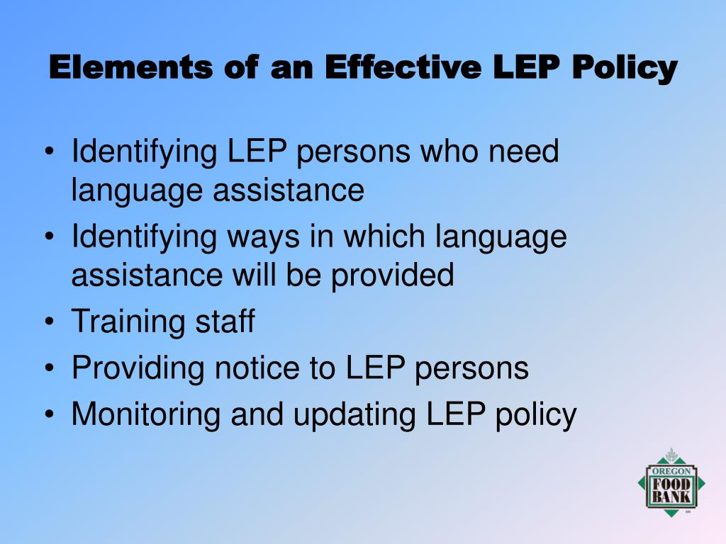 Elements of an Effective LEP Policy