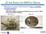 h ion source for hins in meson