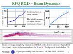 rfq r d beam dynamics