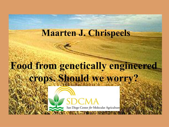 Food from genetically engineered crops should we worry