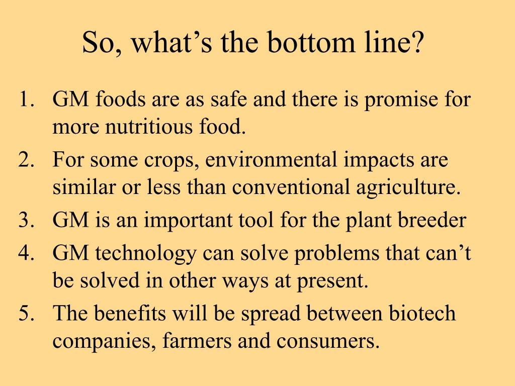 So, what's the bottom line?