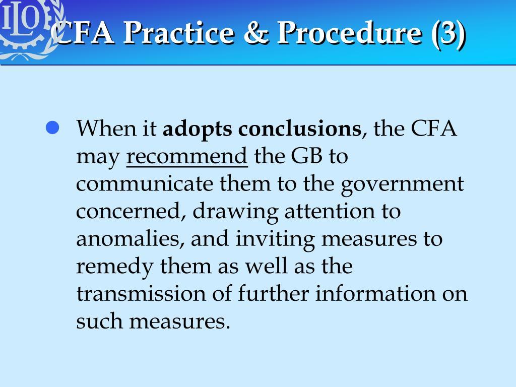 CFA Practice & Procedure (3)