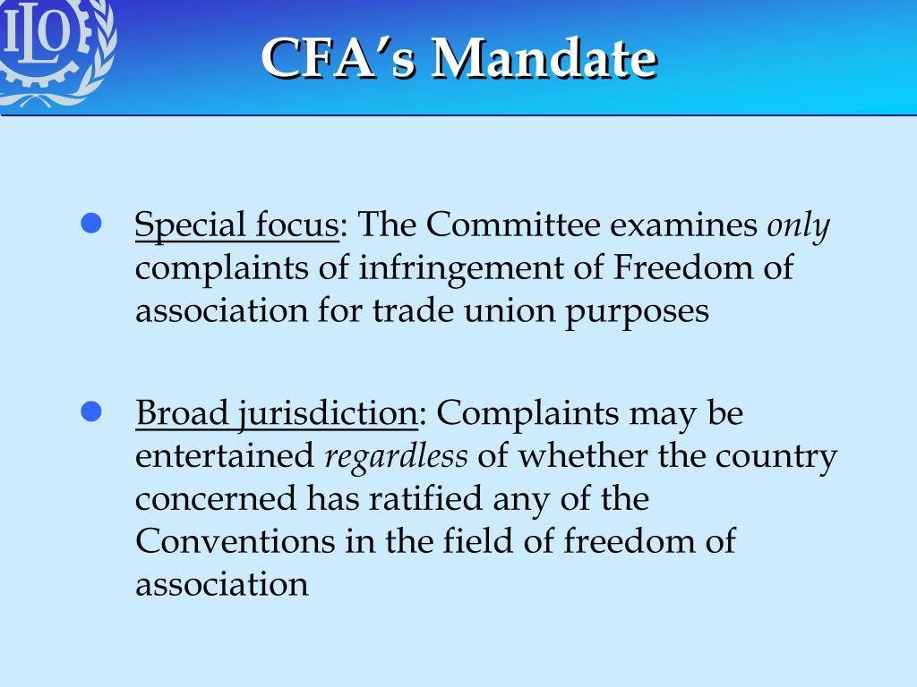 CFA's Mandate