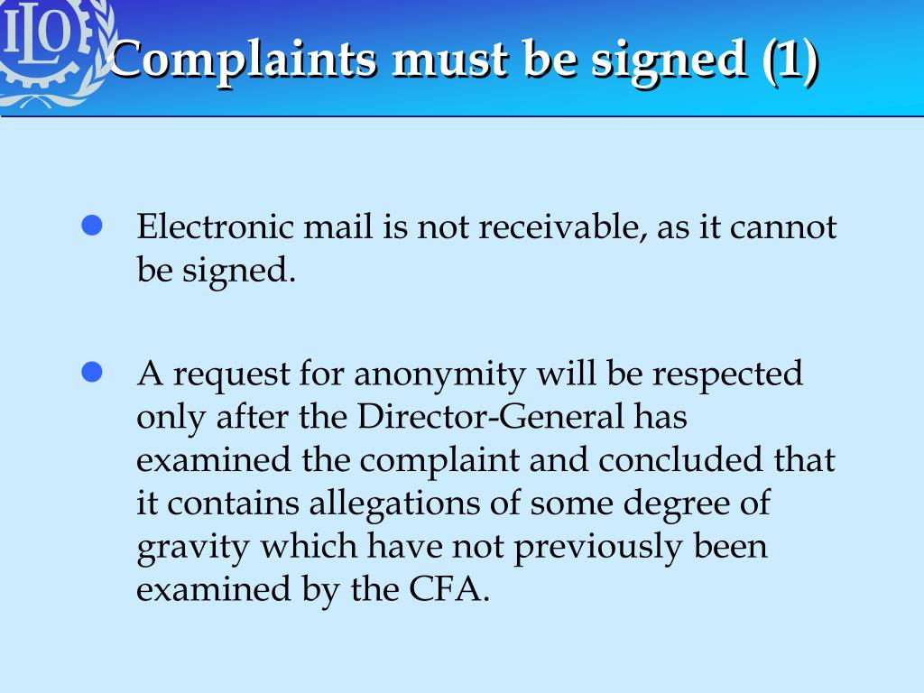 Complaints must be signed (1)