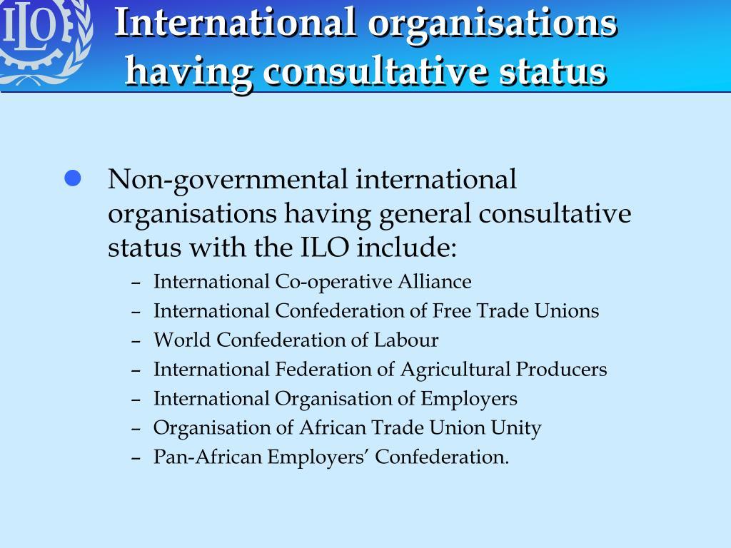 International organisations having consultative status