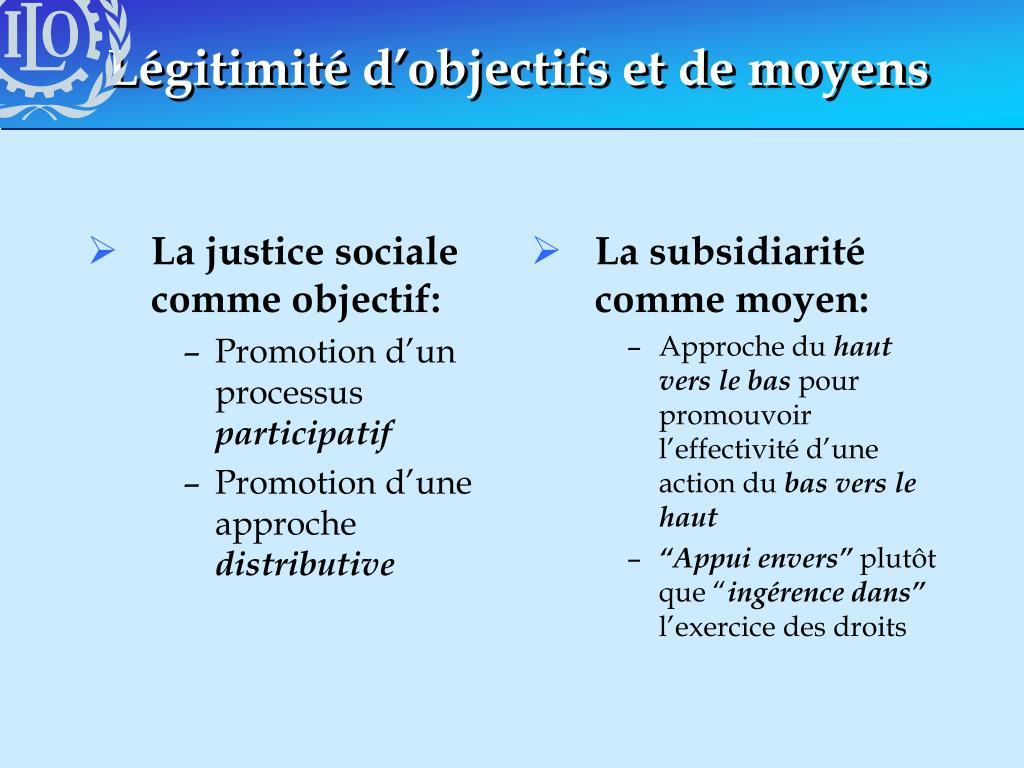 La justice sociale comme objectif: