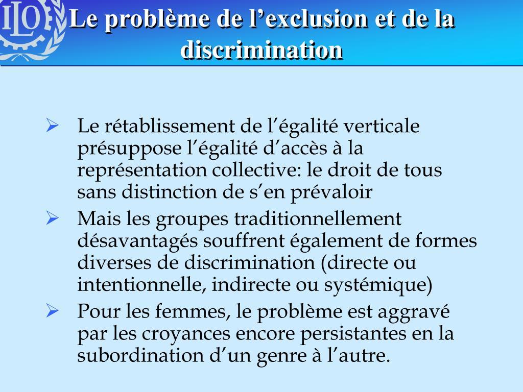 Le problème de l'exclusion et de la discrimination