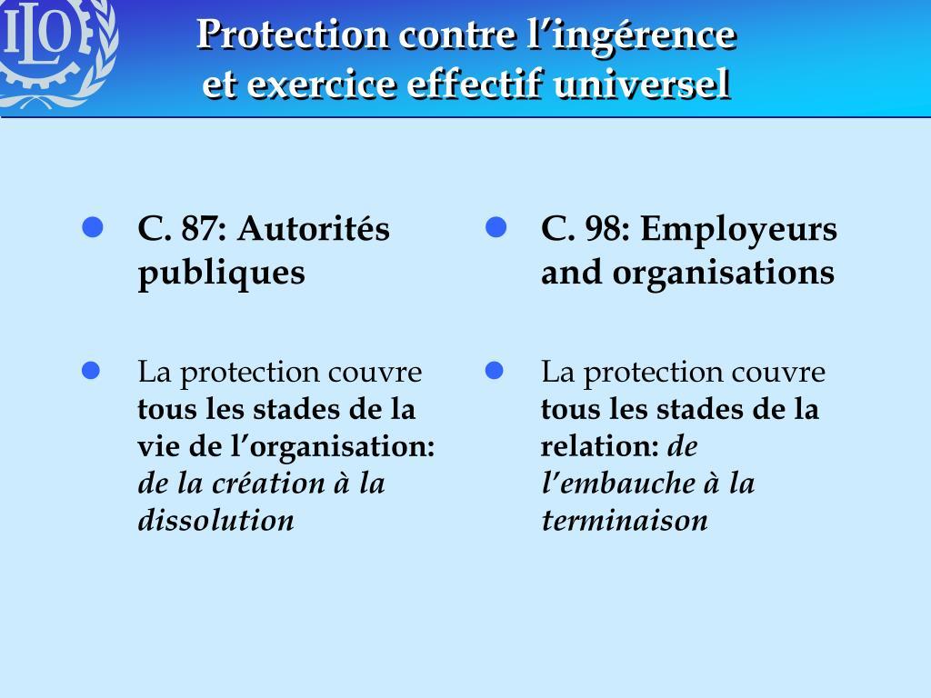C. 87: Autorités publiques