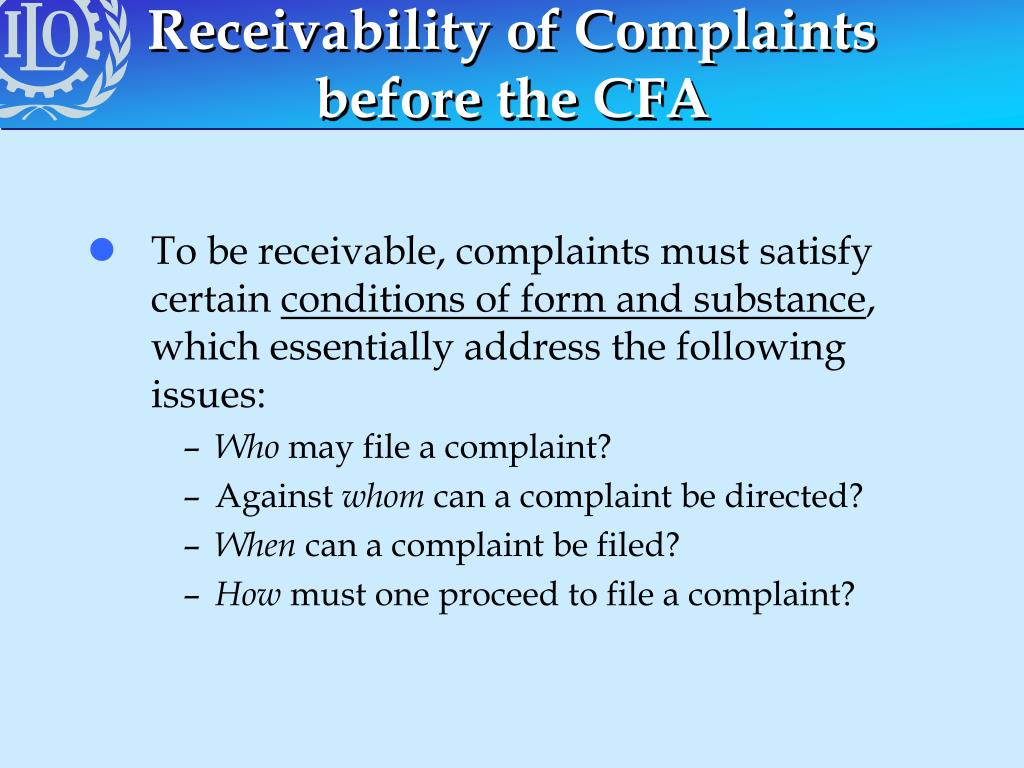 Receivability of Complaints before the CFA