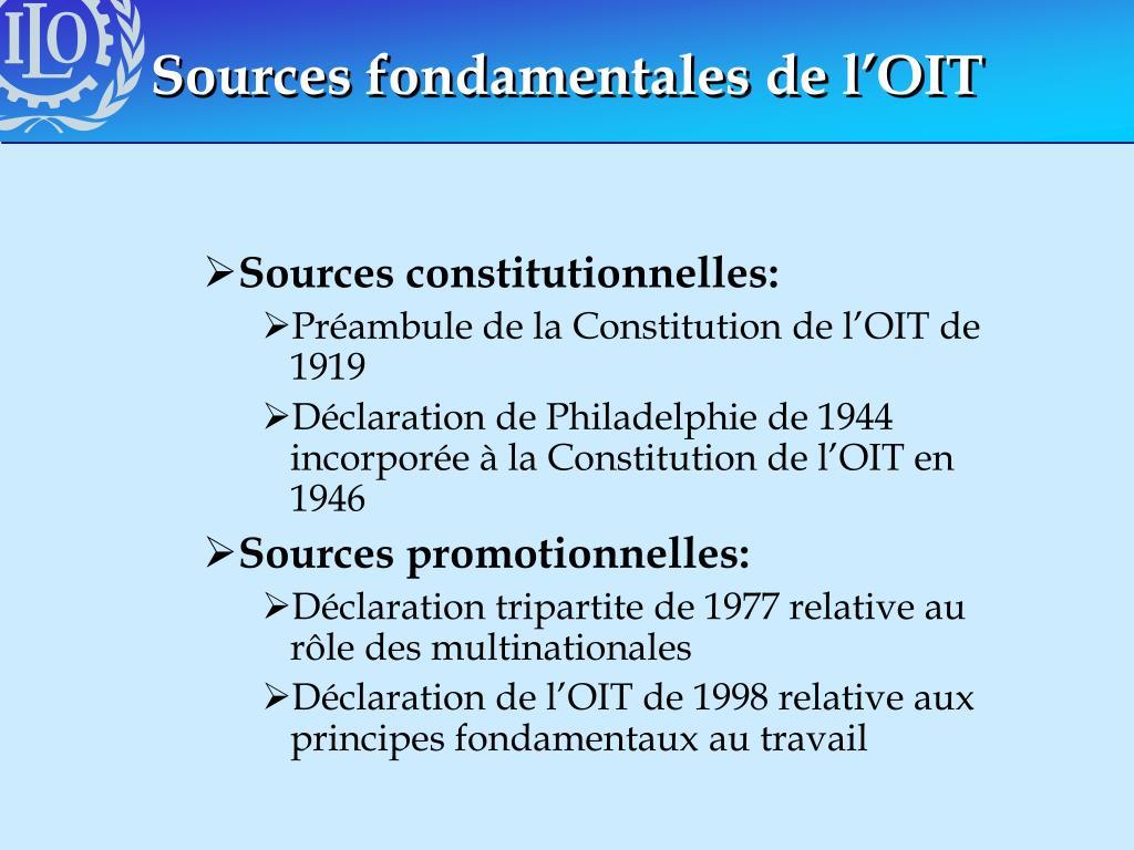 Sources fondamentales de l'OIT