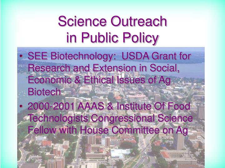 Science outreach in public policy