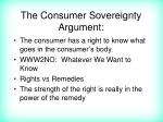 the consumer sovereignty argument