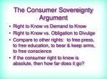 the consumer sovereignty argument81