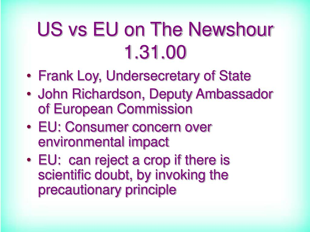 US vs EU on The Newshour 1.31.00