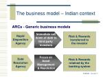 the business model indian context