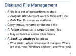 disk and file management