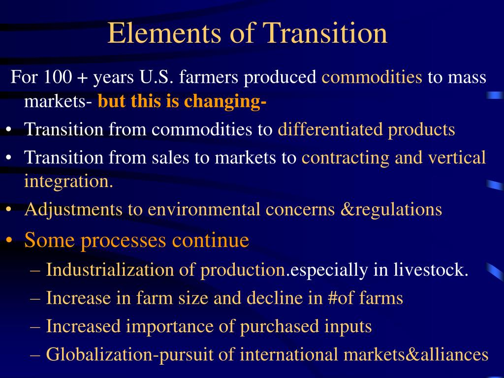 Elements of Transition