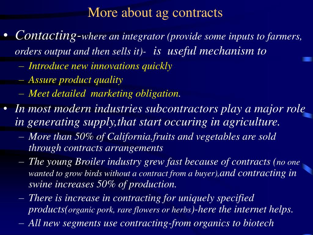 More about ag contracts