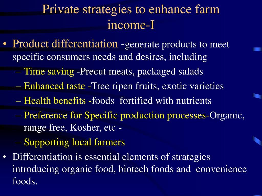 Private strategies to enhance farm income-I
