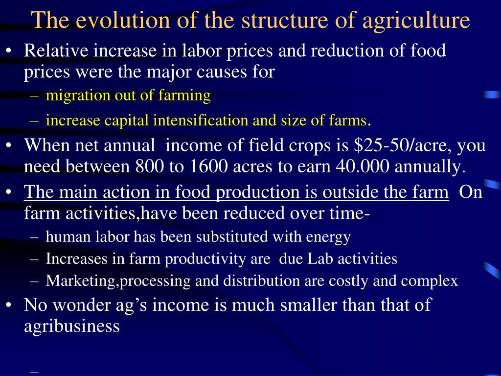 The evolution of the structure of agriculture