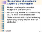 one person s abstraction is another s concretization