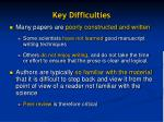 key difficulties