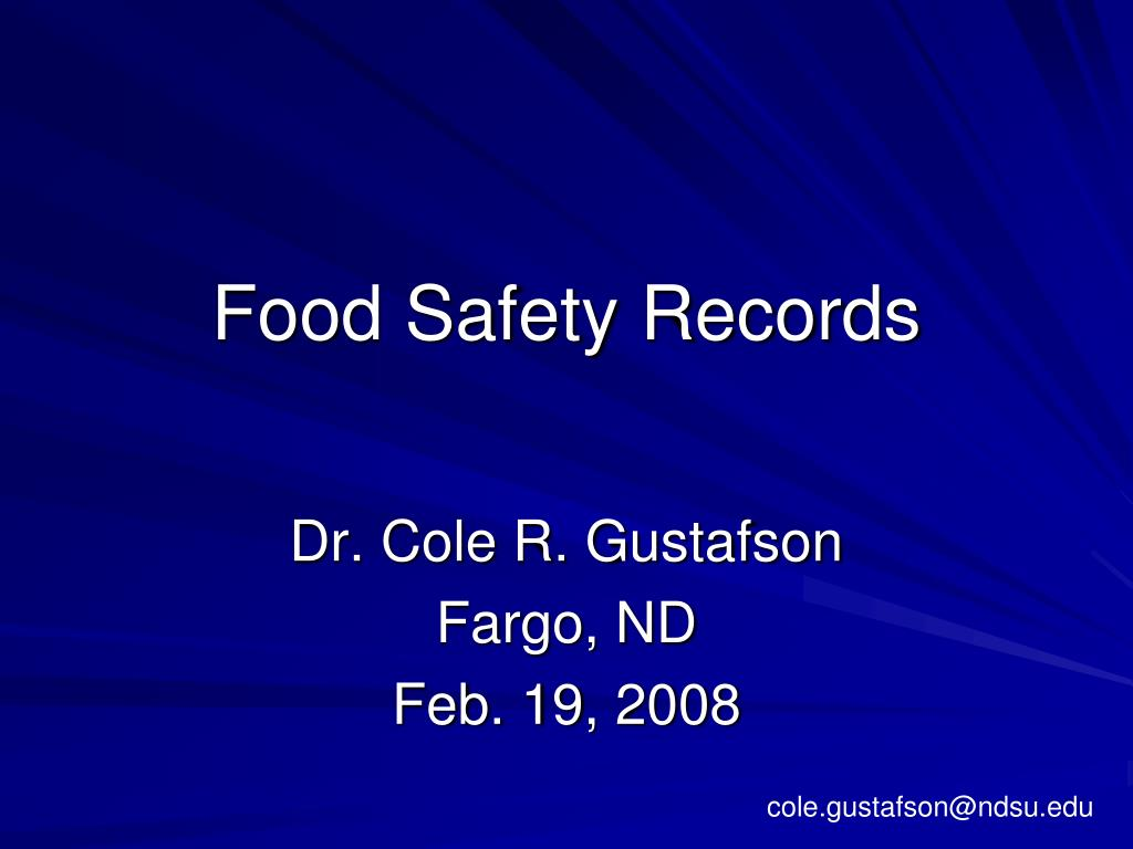 food safety records l.