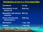 distribution of iron in a 70 kg adult male