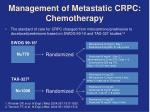 management of metastatic crpc chemotherapy