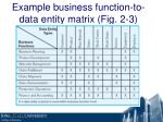 example business function to data entity matrix fig 2 3