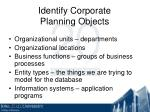 identify corporate planning objects