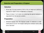 selection and preparation of explant