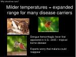 milder temperatures expanded range for many disease carriers