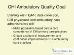 chi ambulatory quality goal