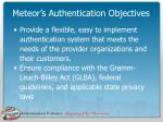 meteor s authentication objectives
