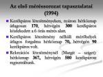 az els m r ssorozat tapasztalatai 1994
