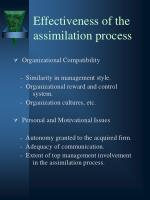effectiveness of the assimilation process