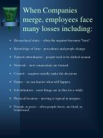 when companies merge employees face many losses including