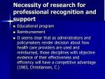 necessity of research for professional recognition and support