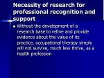 necessity of research for professional recognition and support14