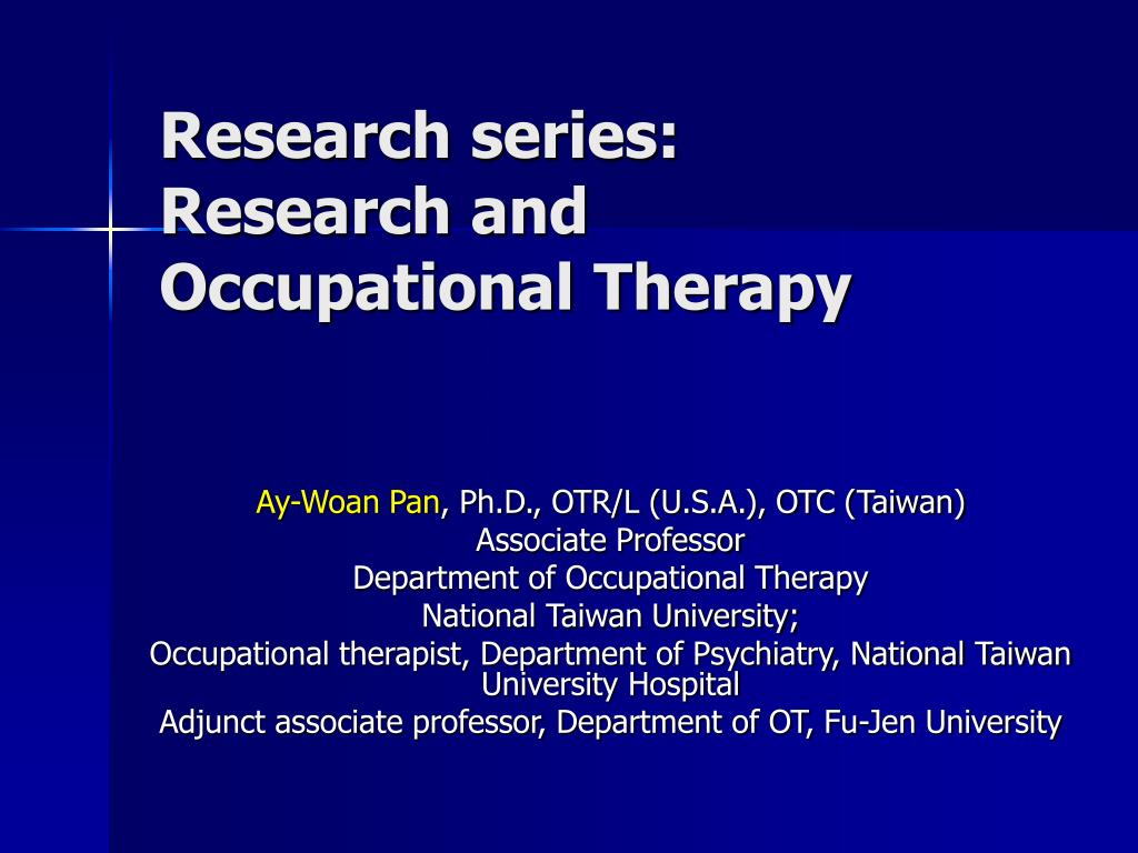 research series research and occupational therapy l.