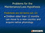 problems for the maintenance loss hypothesis35