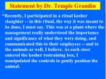statement by dr temple grandin