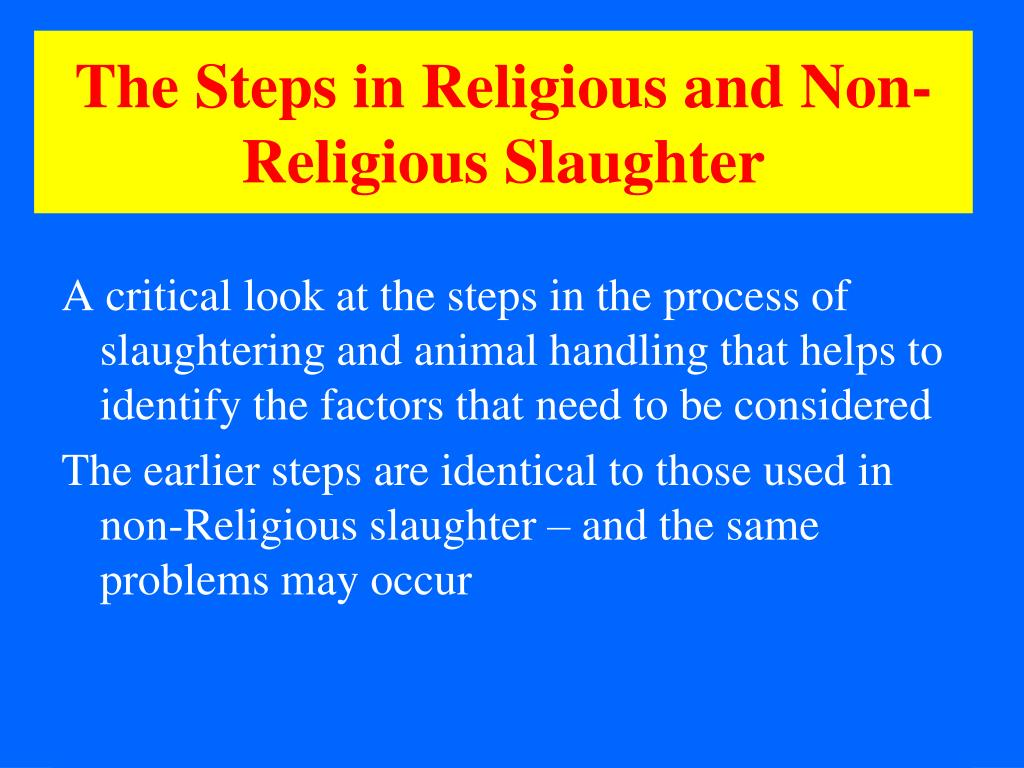 The Steps in Religious and Non-Religious Slaughter