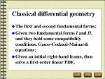 classical differential geometry