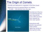the origin of comets