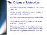 the origins of meteorites