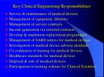 key clinical engineering responsibilities