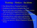 training notices incidents