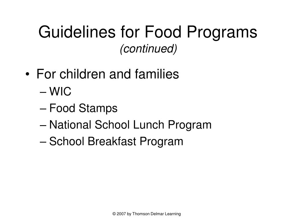 Guidelines for Food Programs